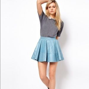 Asos real genuine leather full circle skirt skater